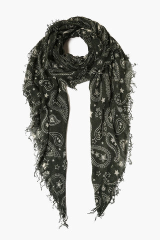 Beetle Gunmetal Paisley Amulet Embroidered Short Skinny Scarf
