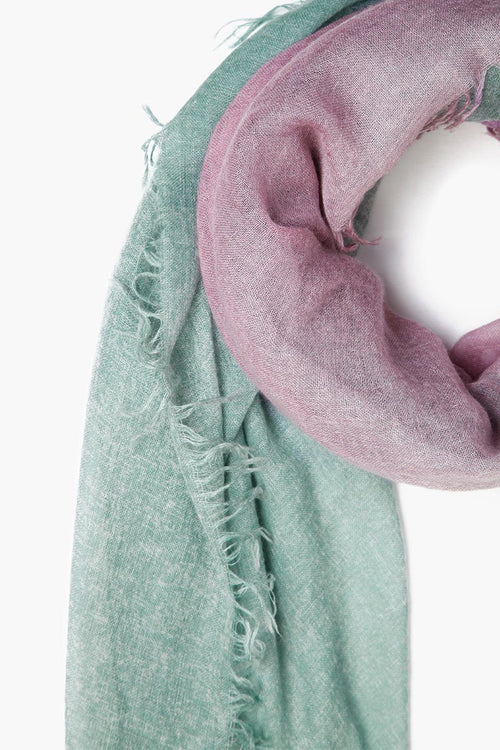 Trekking Green Dip-Dyed Cashmere Scarf
