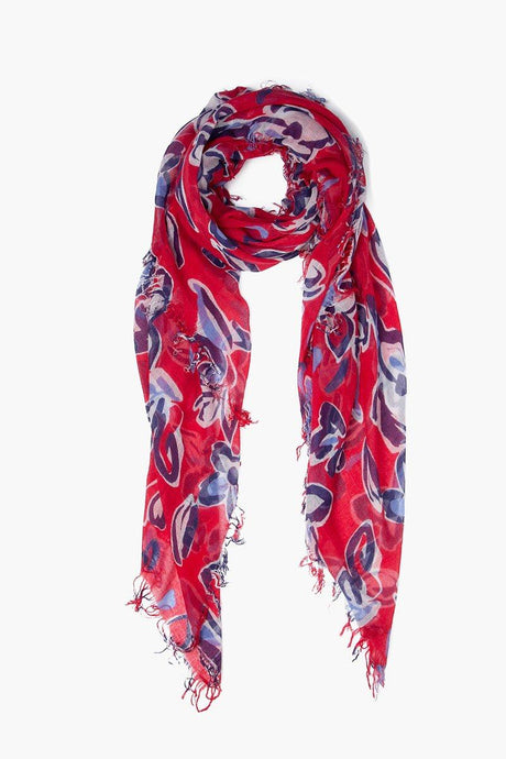 Barbados Cherry Painterly Floral Cashmere and Silk Scarf