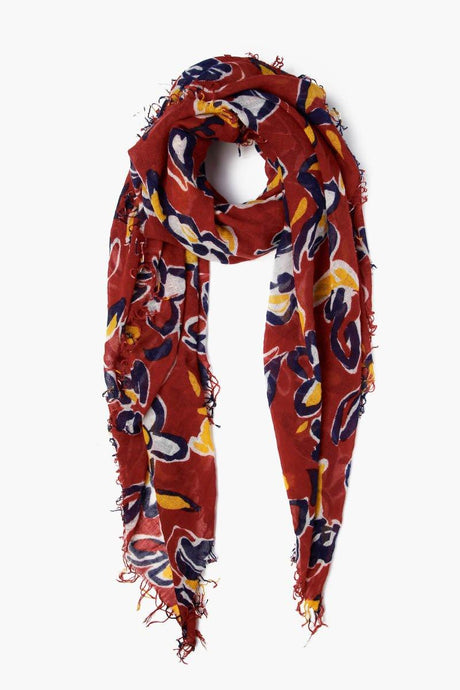 Picante Painterly Floral Cashmere and Silk Scarf