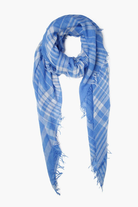 Palace Blue Plaid Cashmere and Silk Scarf