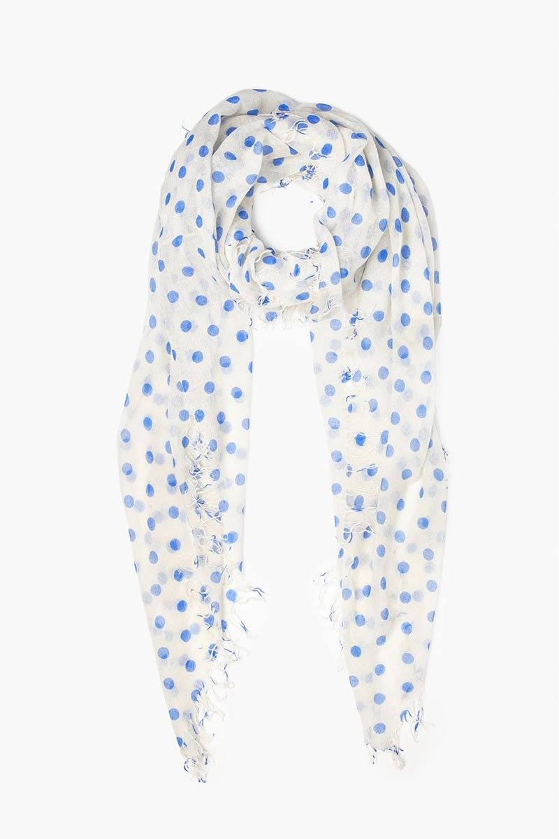 Palace Blue Polka Dot Cashmere and Silk Scarf