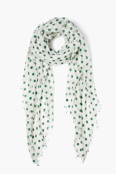 Verdant Green Polka Dot Cashmere and Silk Scarf