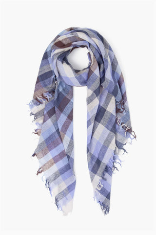 Aster Purple Plaid Wool Scarf