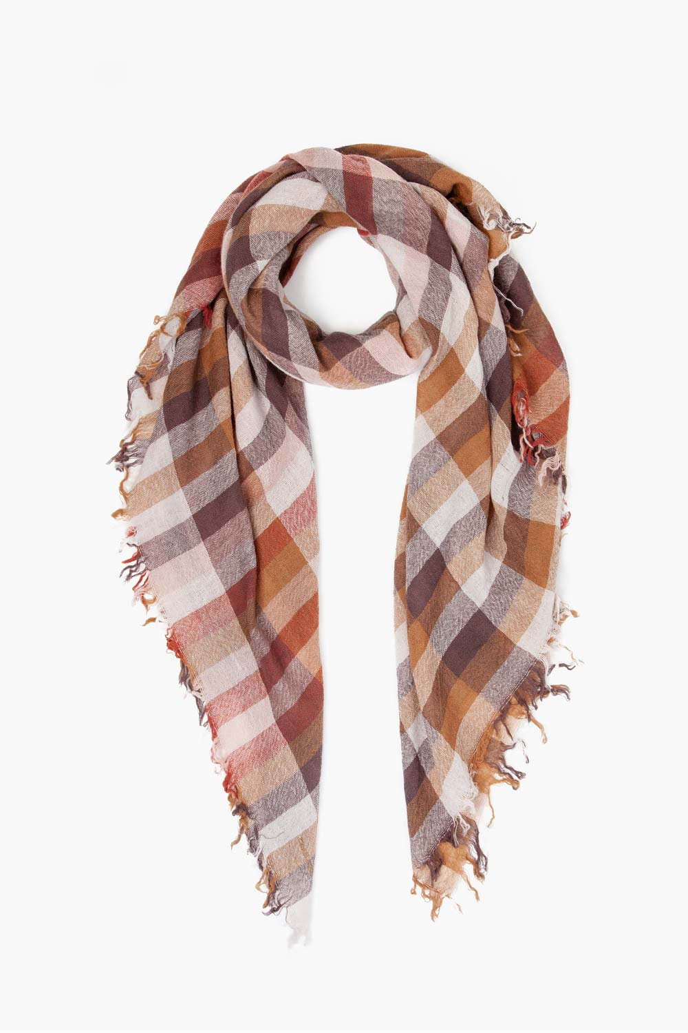 Glazed Ginger Plaid Wool Scarf