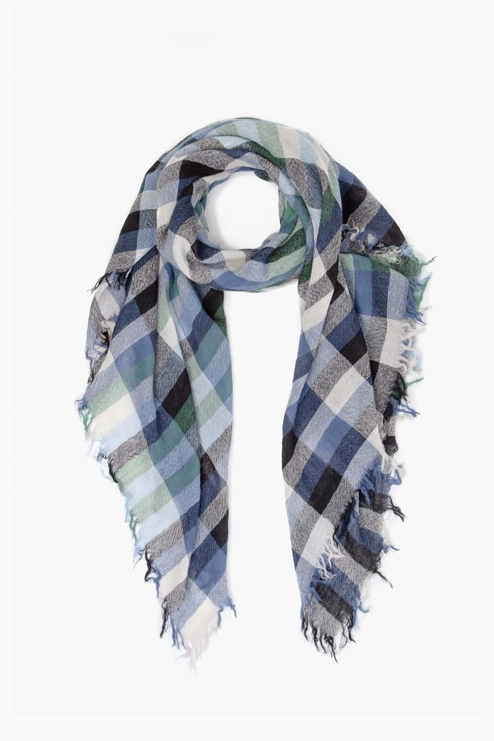 Mineral Blue Plaid Wool Scarf