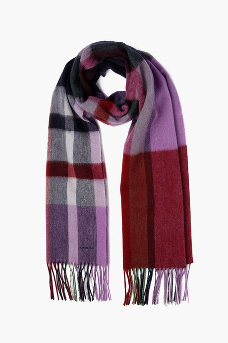 Dusty Lavender Skinny Plaid Wool Scarf
