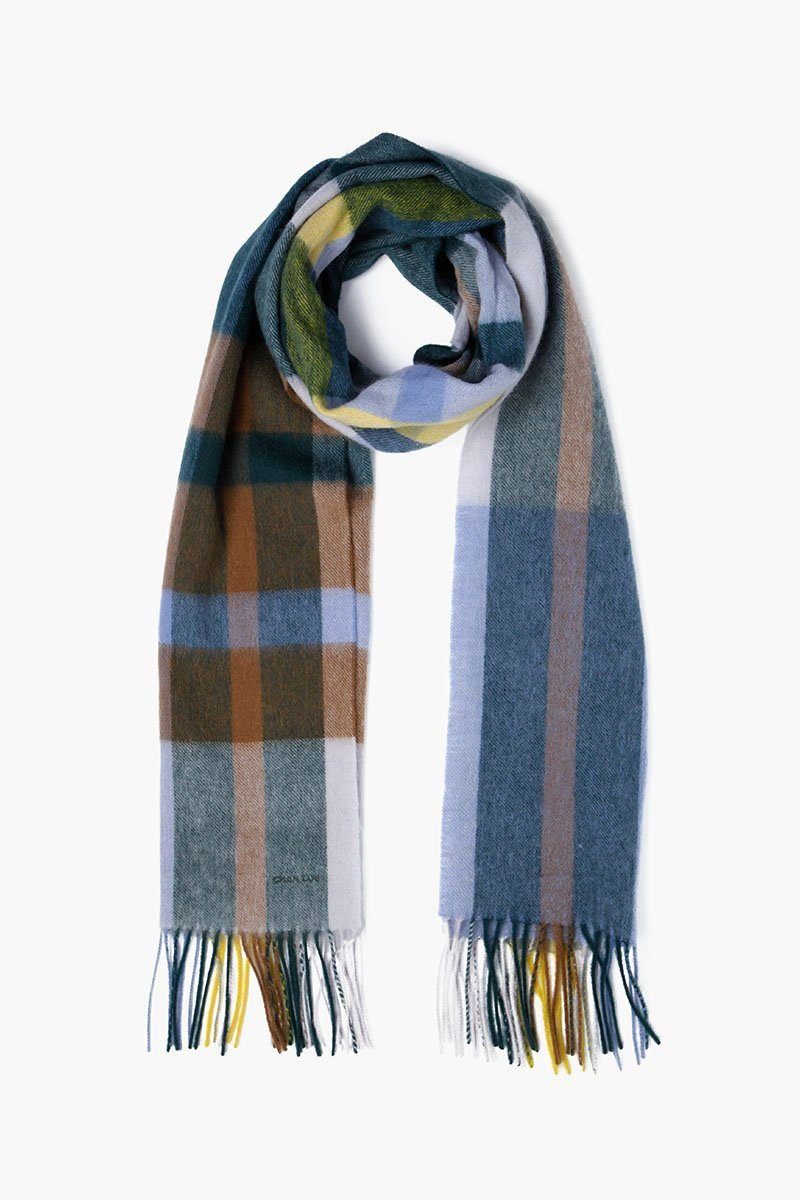 Pearl Blue Skinny Plaid Wool Scarf