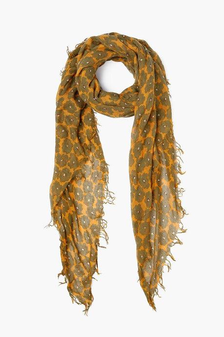 Sunflower Modern Floral Print Cashmere and Silk Scarf