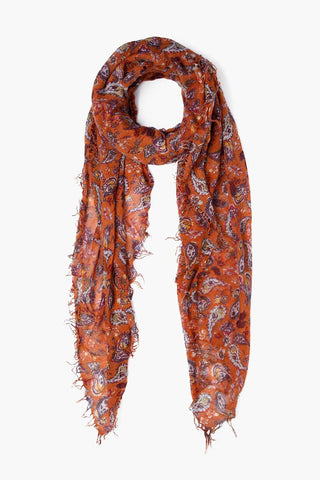 Autumnal Dancing Fall Paisley Print Cashmere and Silk Scarf