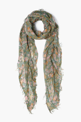 English Manor Modern Floral Print Cashmere and Silk Scarf