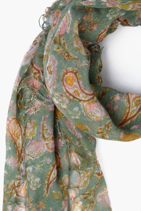 Green Bay Fall Paisley Print Cashmere and Silk Scarf