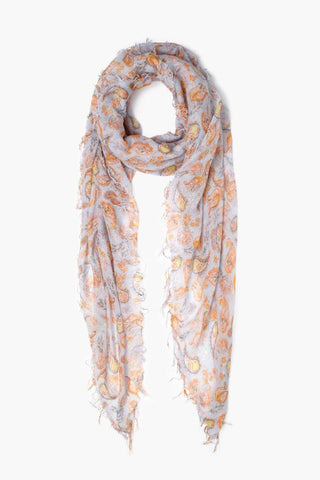 Pearl Blue Fall Paisley Print Cashmere and Silk Scarf