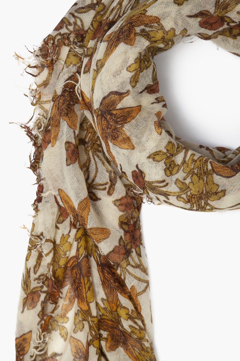 Lambs Wool Vintage Floral Print Cashmere and Silk Scarf