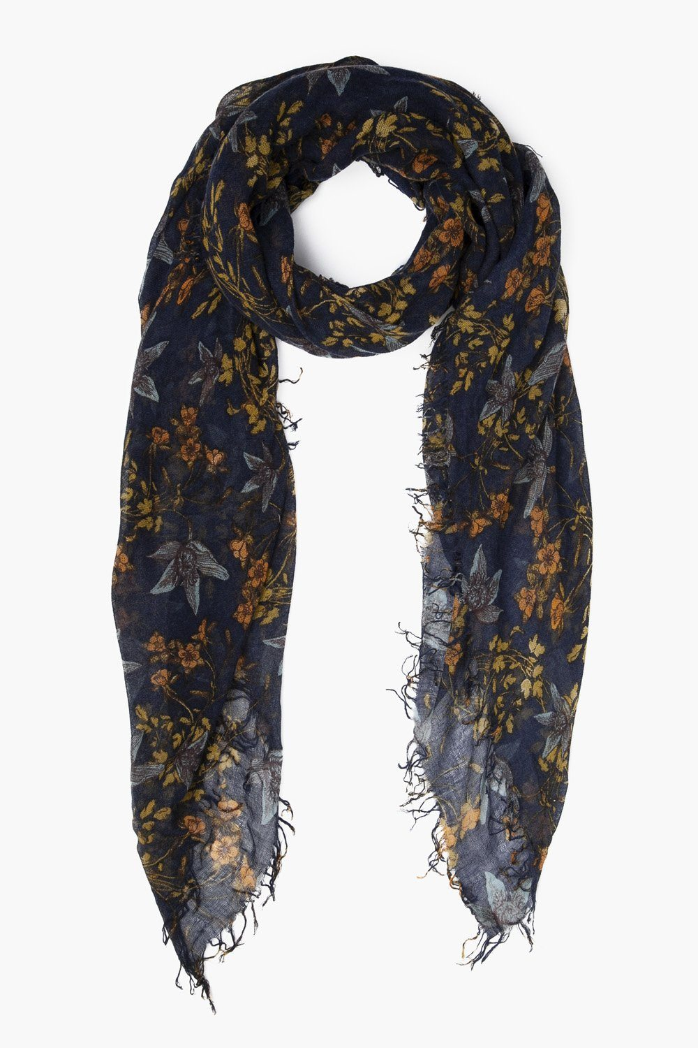 Outer Space Vintage Floral Print Cashmere and Silk Scarf