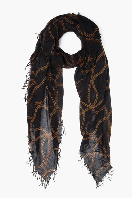Black Vintage Chain Cashmere and Silk Scarf