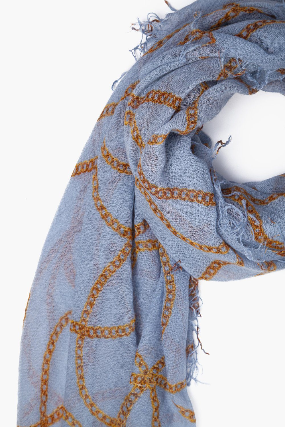 Dusty Blue Vintage Chain Cashmere and Silk Scarf
