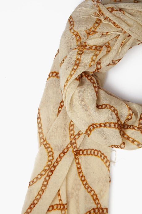 Lambs Wool Vintage Chain Cashmere and Silk Scarf