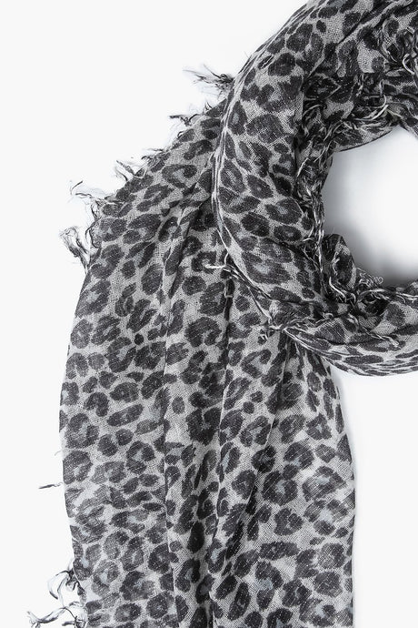 Pearl Blue Leopard Print Metallic Cashmere And Silk Scarf