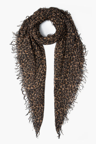 Roasted Pecan Leopard Print Metallic Cashmere And Silk Scarf