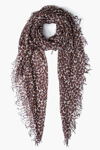 Toasted Nut Leopard Print Metallic Cashmere And Silk Scarf