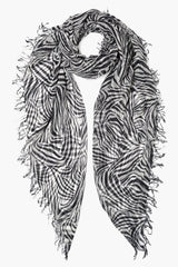Black-White Tye Dye Zebra Print Cashmere and Silk Scarf