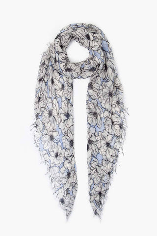 Coconut Milk Anemone Blooms Print Cashmere and Silk Scarf