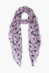 Dawn Pink Anemone Blooms Print Cashmere and Silk Scarf