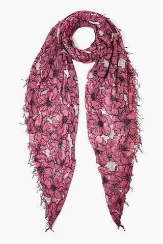 Red Violet Anemone Blooms Print Cashmere and Silk Scarf