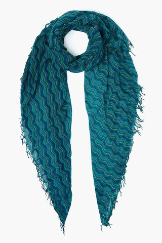Lush Meadow Wavy Print Cashmere and Silk Scarf