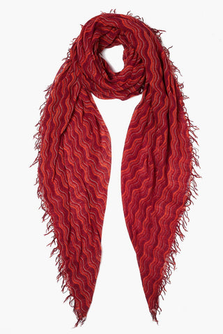 Rooibos Tea Wavy Print Cashmere and Silk Scarf