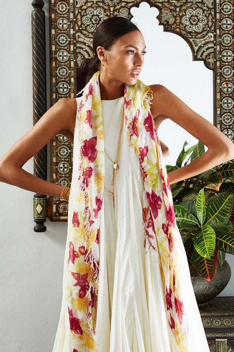 Coconut Milk Summer Iris Print Cashmere and Silk Scarf