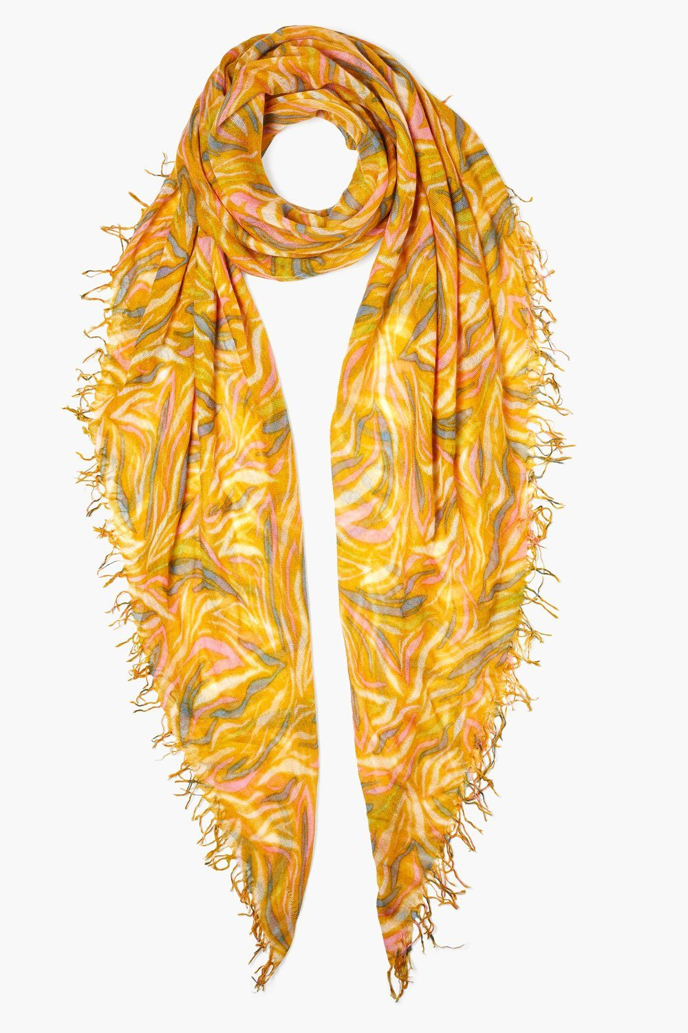Chai Tea Zebra Print Cashmere and Silk Scarf