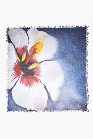 Artist Series Crown Blue Hibiscus Cashmere Scarf