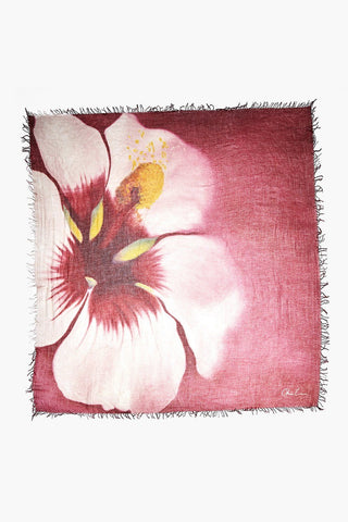 Artist Series Tawny Port Hibiscus Cashmere Scarf