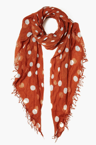 Gingerbread Polka Dot Cashmere and Silk Scarf