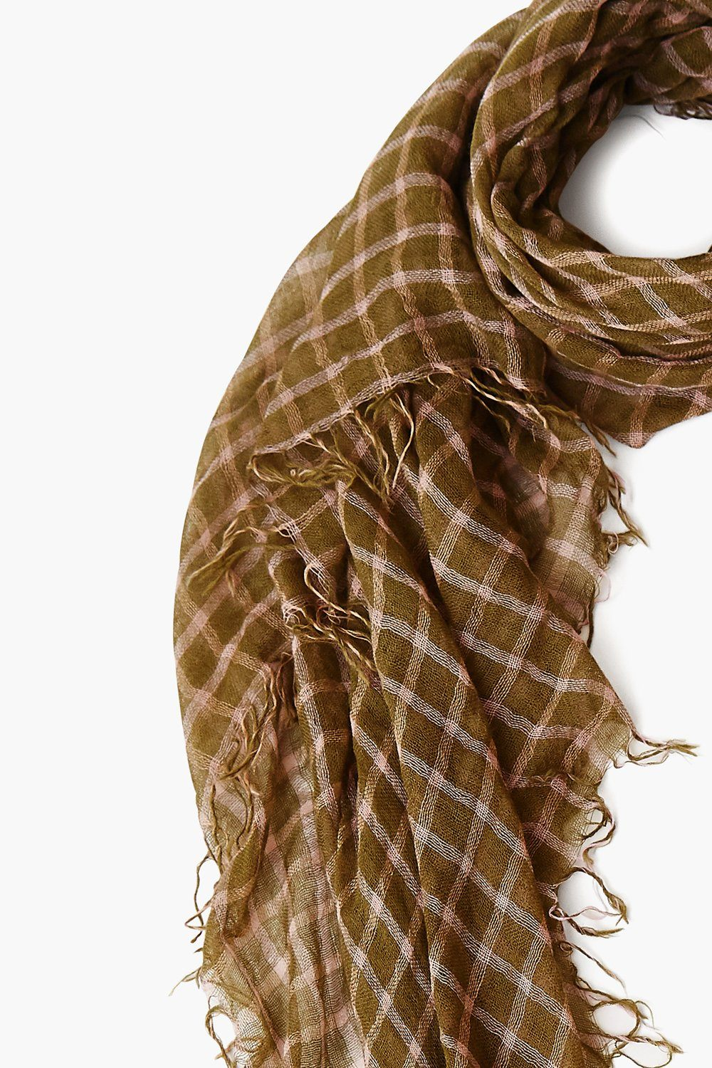 Olive Plaid Cashmere and Silk Scarf