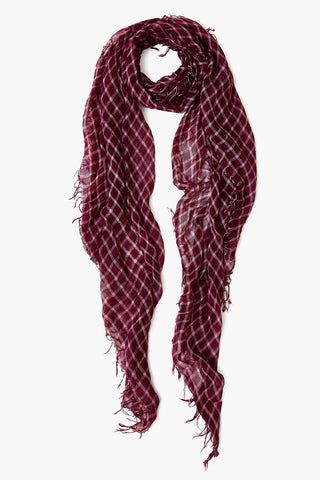 Plum Plaid Cashmere and Silk Scarf