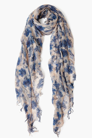 Indigo Blue French Floral Cashmere and Silk Scarf