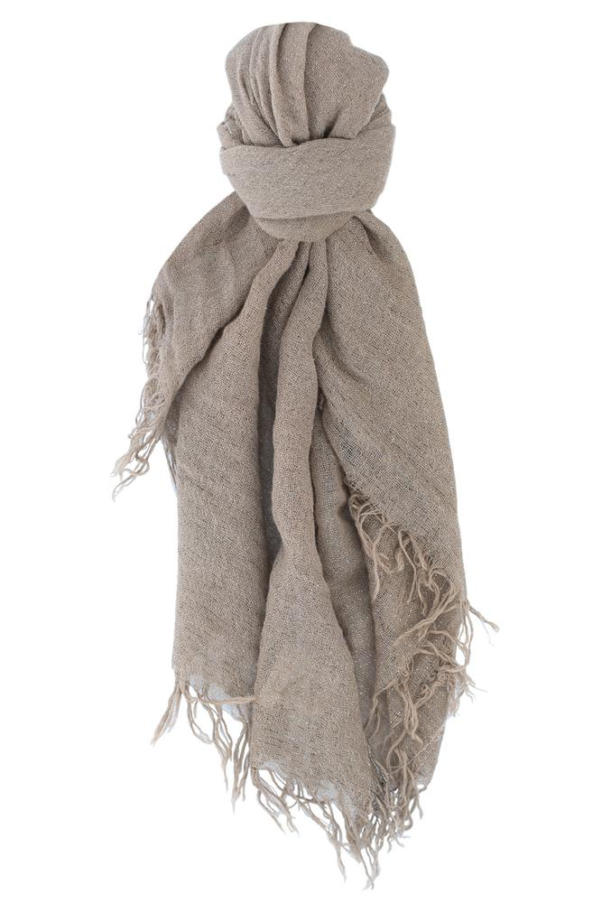 Walnut Metallic Cashmere and Silk Scarf