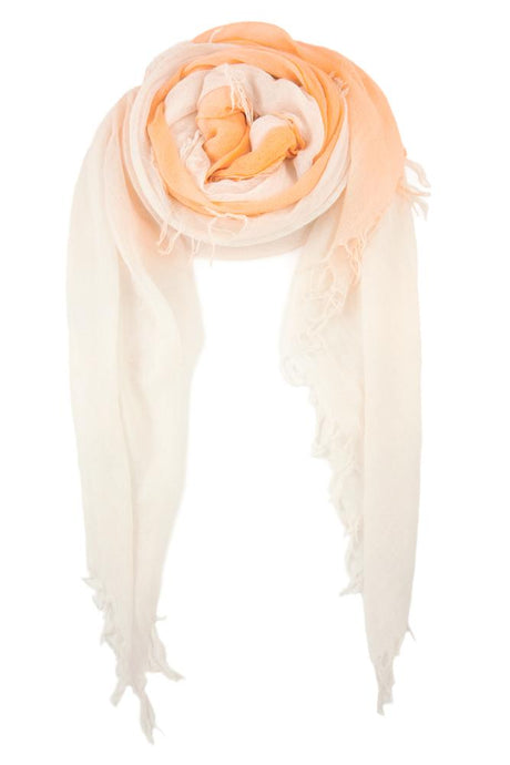 Apricot Ice White Cashmere and Silk Shadow Dyed Scarf