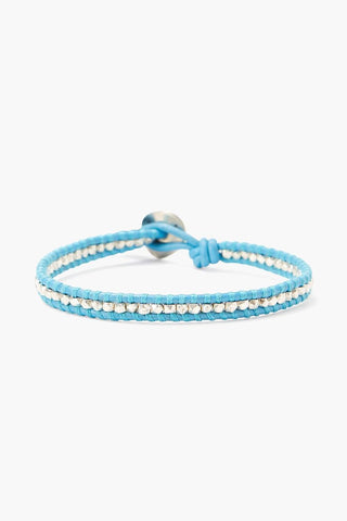 Silver Nugget and Sky Blue Leather Single Wrap Bracelet