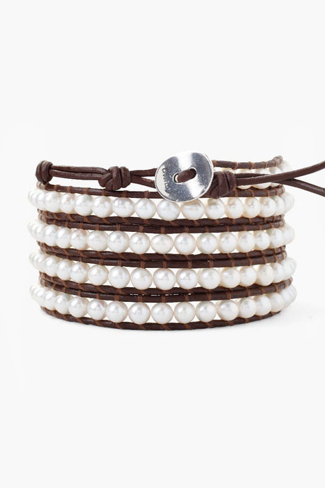 White Pearl Five Wrap Bracelet on Brown Leather