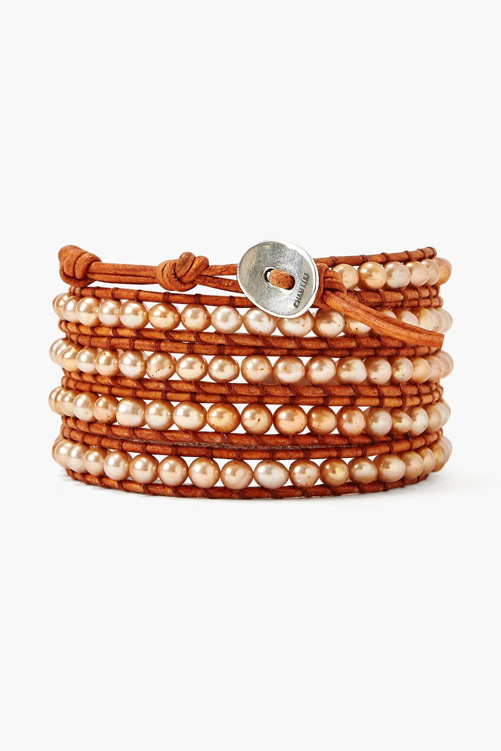 Champagne Pearl and Natural Brown Leather Wrap Bracelet