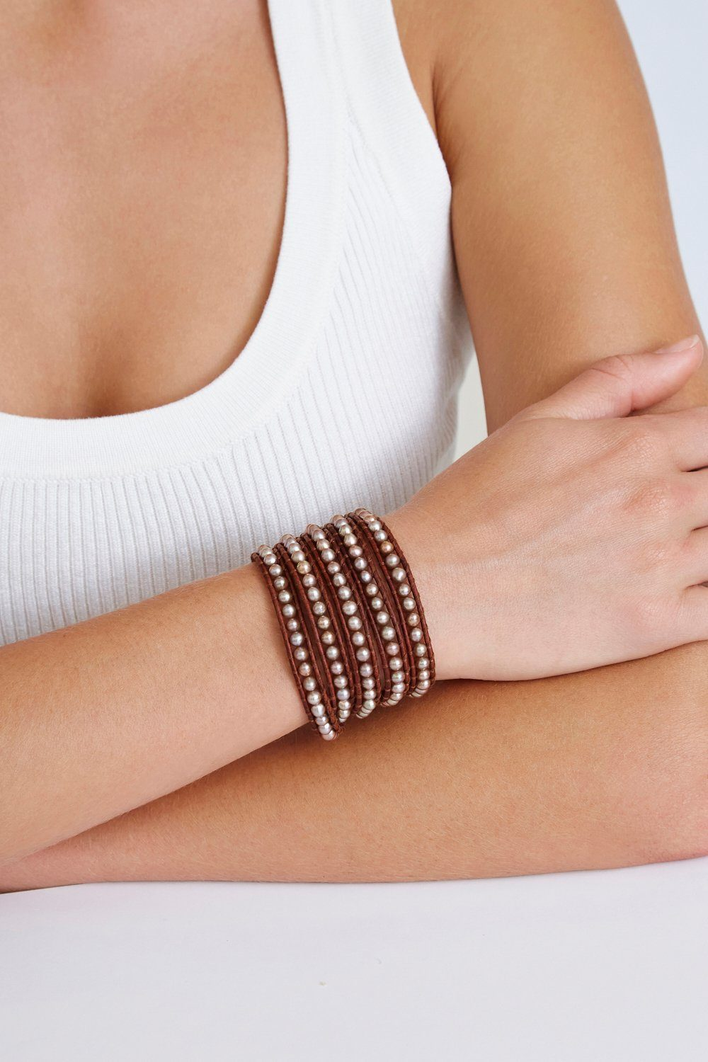 Dark Champagne Pearl and Natural Dark Brown Leather Wrap Bracelet