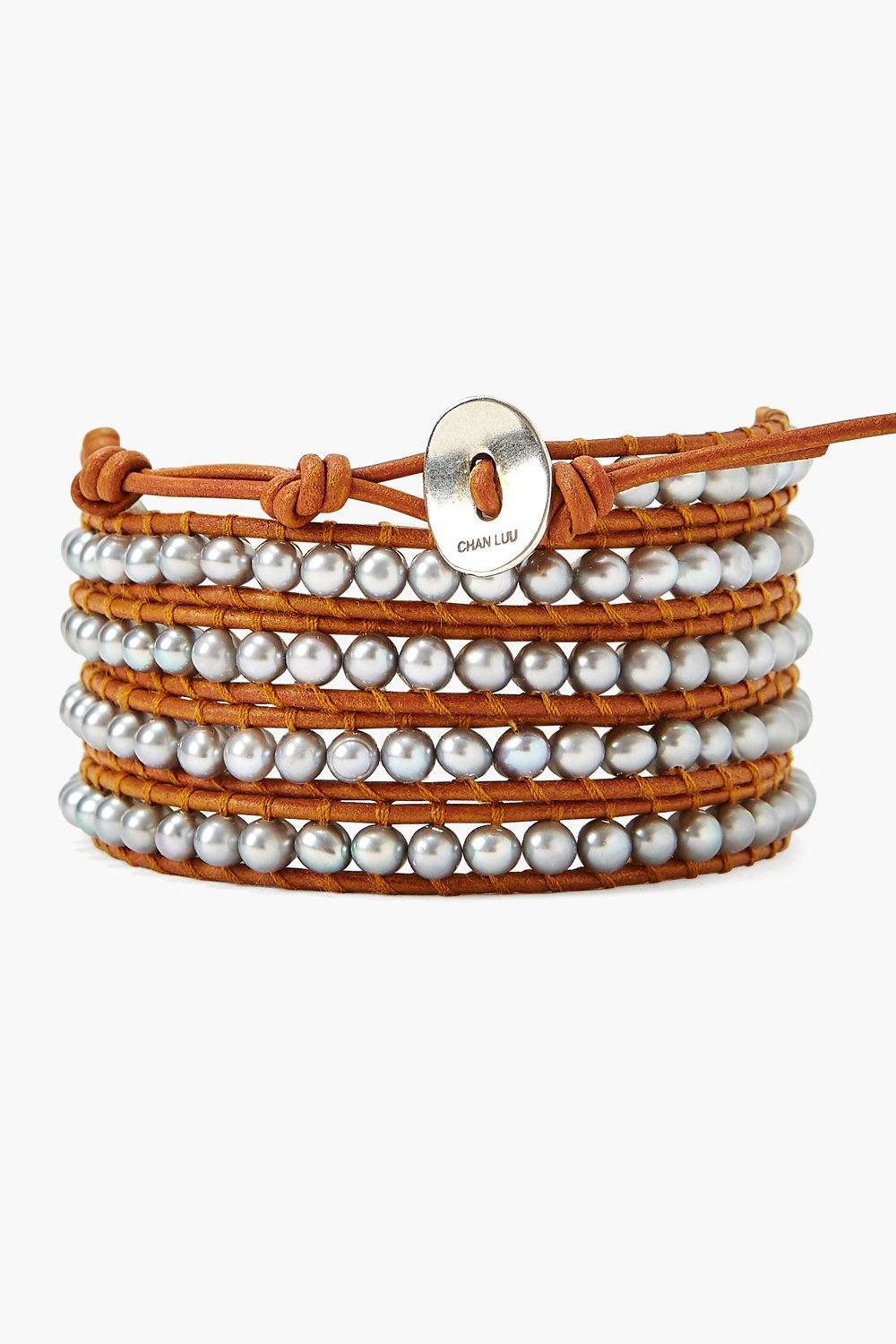 Grey Pearl and Natural Brown Leather Wrap Bracelet