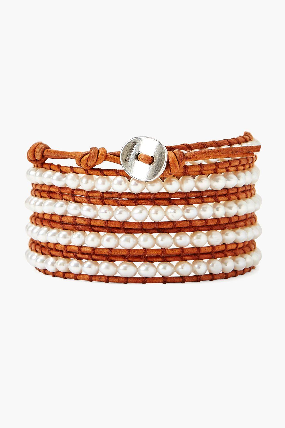 White Pearl and Natural Brown Leather Wrap Bracelet