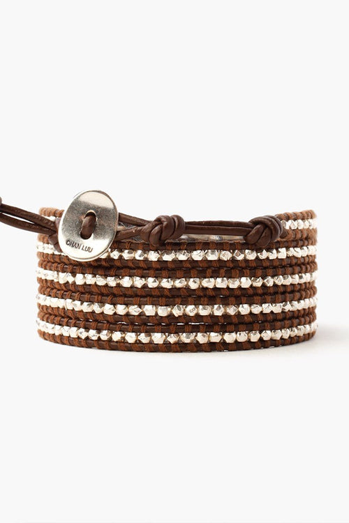 Sterling Silver Wrap Bracelet on Brown Leather