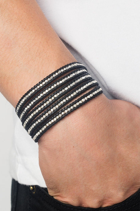 Sterling Silver Wrap Bracelet on Natural Black Leather