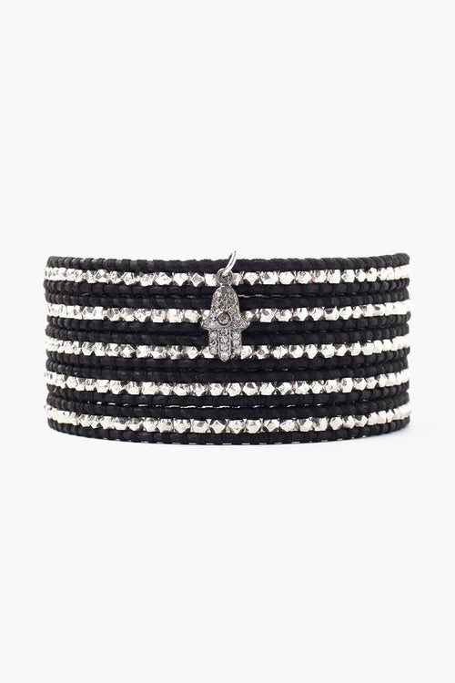 Diamond Hamsa Charm Wrap Bracelet With Sterling Silver Nuggets